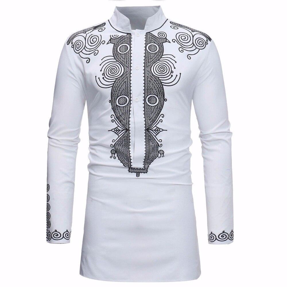 Men Long Sleeve African Dashiki Tribal Print Shirt Succinct Hippie Top Blouse