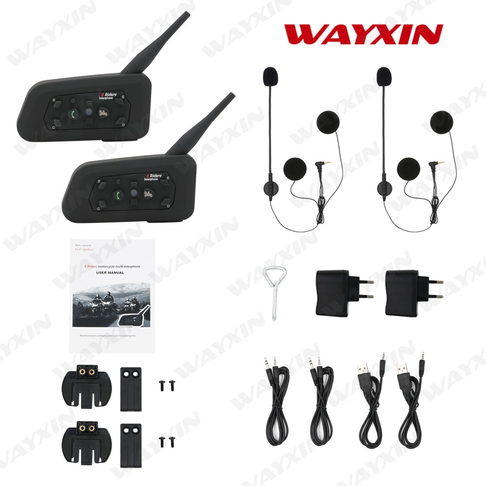 New Bluetooth Intercom Motorcycle Helmet Accessories Speaker 1200m 6 Riders Interphone Headset Support BT Wireless Mp3