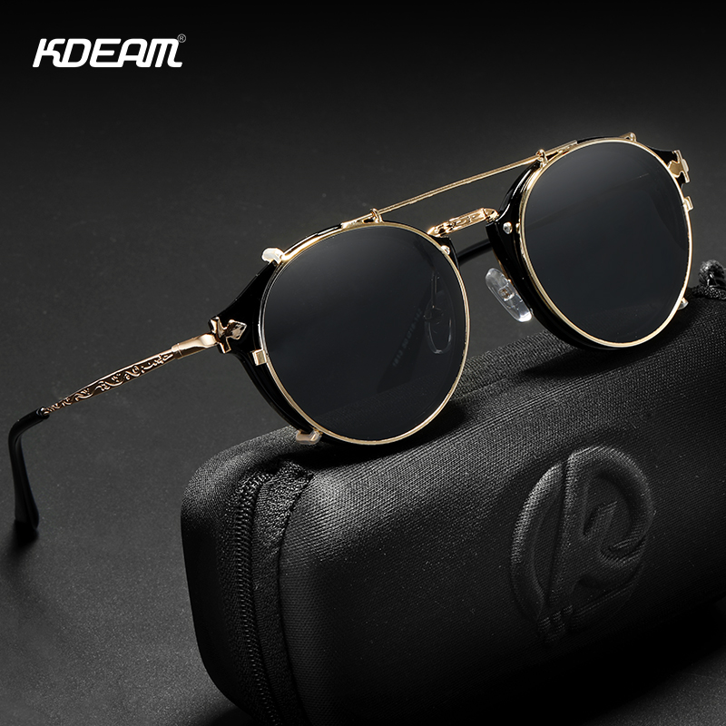 KDEAM Retro Steampunk Round Clip On Sunglasses Men Women Double Layer Removable Lens Baroque Carved Legs Glasses UV400  With Box