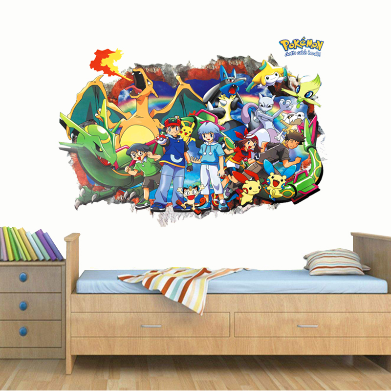 cartoon pikachu red through wall stickers for kids room bedroom decorations 3d pokemon go wall art