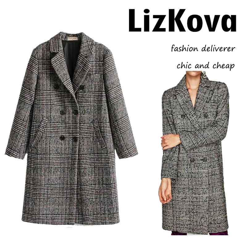Winter Women Double Breasted Coat Female Classic Plaid   Trench   Coat Turn down Collar Windbreaker Outer Wear