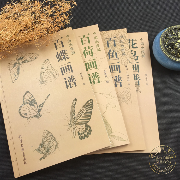 4 Pcs/Set Chinese painting line drawing book Color pencil Birds flowers and butterfly coloring book chinese color pen pencil drawing book about small town chinese art techniques painting coloring book