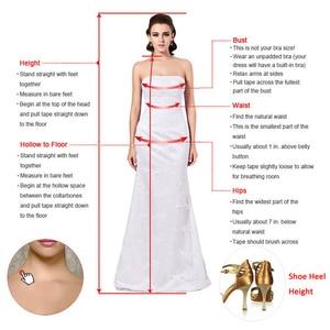 Image 5 - シックなチュール V ネックネックライン自然ウエスト A ライン長袖のウェディングドレスとビーズレースアップリケウェディングドレス
