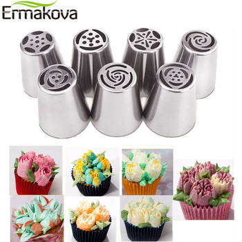 ERMAKOVA Large Size Stainless Steel Pastry Nozzle Cupcake Cake Decorating Tip Kits Russian Baking Pastry Bag Piping Tips Tool image