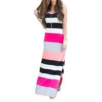 2016 Summer Women Stripe Beach Dress European And American Fashion Sleeveless Maxi Beach Dress Hot Sale