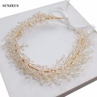 Gold Bridal Hair Sash Crystal Headband For Brides 2018 Wedding Accessoires SQ093