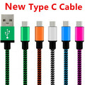 1000pcs/lot high quality 1m 3FT braided USB Type C Cable Fabric Nylon Line Type-C USB for Xiaomi 4C for Nokia N1 for ZUK-ZE