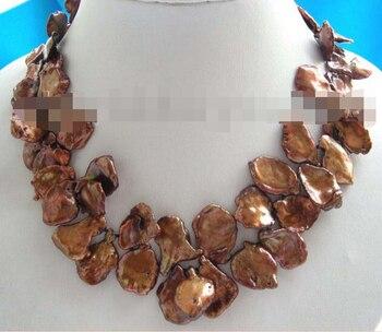 Miss charm Jew10636 Chocolate Reborn Keshi Pearl Petal Necklace 14k