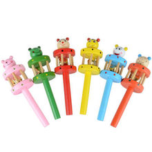 Newborn Baby Rattle Sound Toys 1PC 0-2T Baby Cute Jingle Rattles Toys Rainbow Pram Crib Handle Wooden Bell Stick Shake Toys(China)