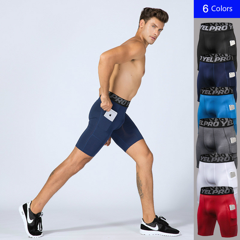 Shorts Men With Pockets For Phone-Base-Layer Tights Performance Compression-Workout Men's
