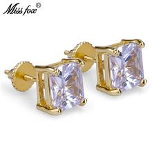 HOT!!! Hiphop 24K Gold Plated Fashion Diamond Ear Rings Square Zirconia Bijoux Personalized 6MM Piercing Mens Stud Earrings