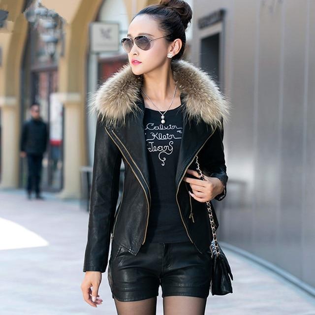 Faux Fur Collar Women Leather Jackets Plus Cotton Jackets Coats ...