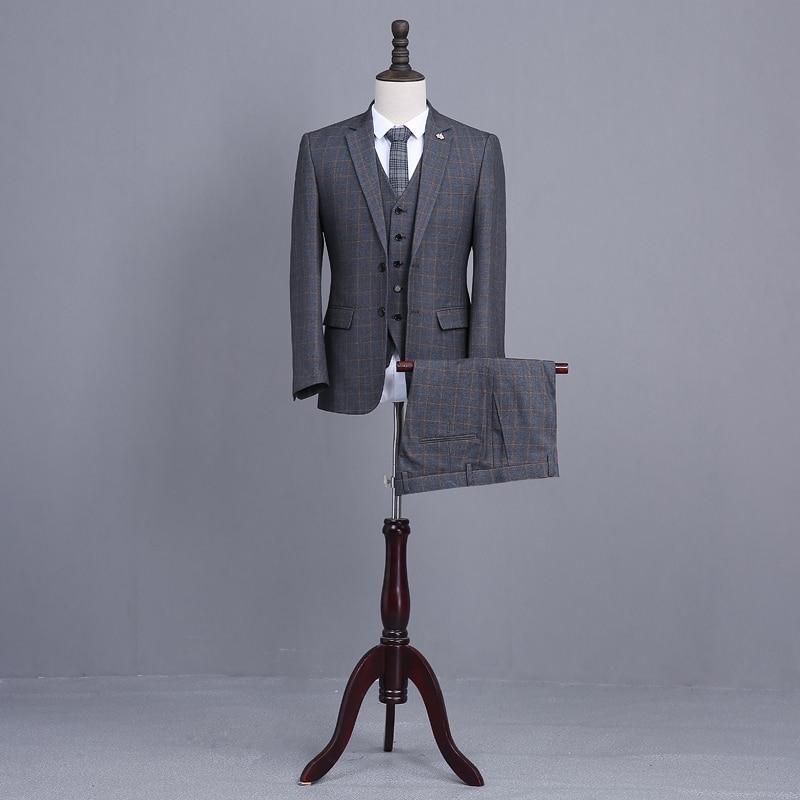 Latest Coat Pant Designs Dark Gray Tweed Mens Wedding Dinner Suits 3 Piece Slim Fit Groom Tuxedos Red Blue Stripe Man Suit Terno
