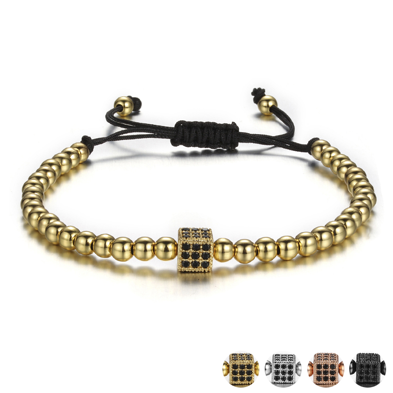 Small Zircon Cube Rivet Charm Bracelets For Women With Black Rhinestone Stone Geometric Beaded Bracelet Femme Jewelry