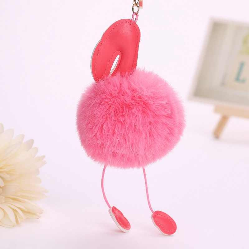 SUTEYI Nova Flamingo Fofo Bola De Pêlo Chaveiro Para As Mulheres Menina Dos Desenhos Animados Chaveiro Carro Saco de Jóias Acessórios Titular Da Corrente Chave