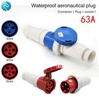 Aviation plug socket industrial waterproof connector 3 core 4 core 5 core 63A aviation butt plug|Connectors| |  -