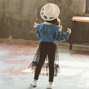 Image 3 - احدث اسلوب مجموعة ملابس الأطفال الاطفال الفتيات قطعتين مجموعة الجينز قمصان و تنورة دانتيل السراويل في سن المراهقة شبكة سوداء 12Y