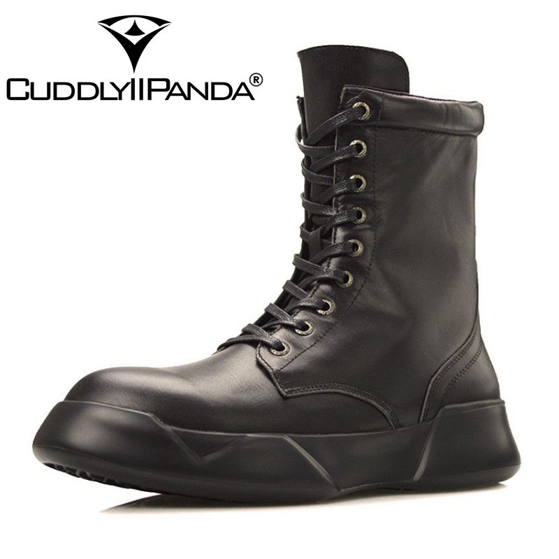 ФОТО 2017 New Arrival Fashion Men's Boots Martin Outdoor Genuine Leather Breathable High-top Military Boots Black Short Boots