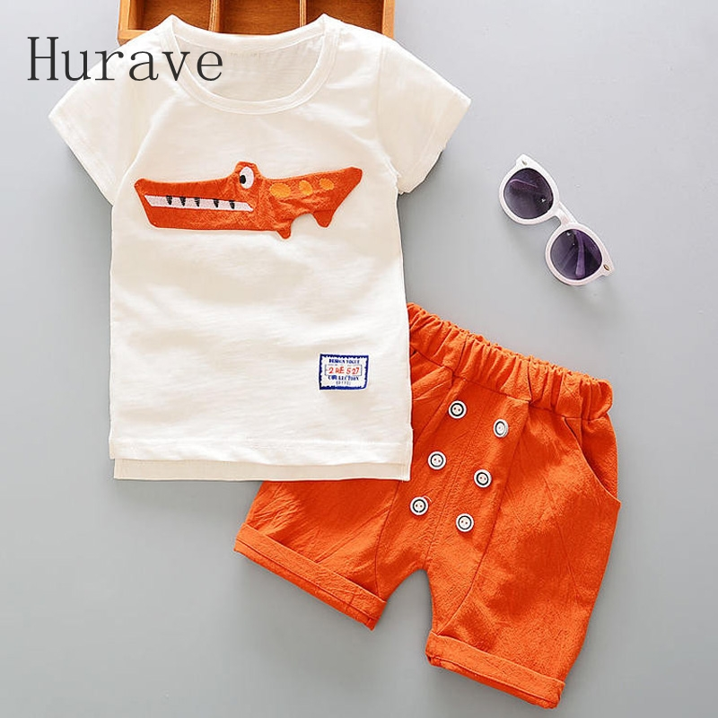 Hurave 2pc Casual Kids Clothing Baby Girls Clothes Sets Summer Heart Printed Girl Tops Shirts + Shorts Suits Childrens Clothing