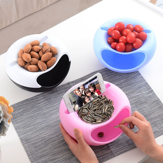 Creative Lazy Fruit Dish Snacks Nut Melon Seeds Bowl Double Layer Plastic Candy Plate Peels Shells Storage Tray Desk Home Decor 1