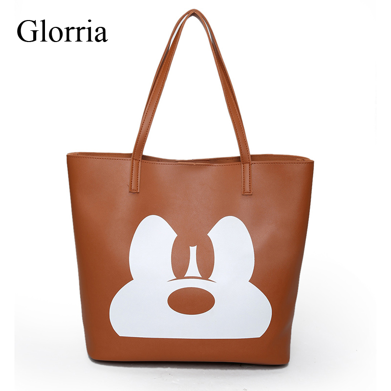 2017 Fashion PU Leather Handbag Women Joker Shoulder Bag Large Capacity Mickey Tote Bag Female Crossbody Bag Feminine Sac a Main weiju new canvas women handbag large capacity casual tote bag women men shoulder bag messenger crossbody bags sac a main