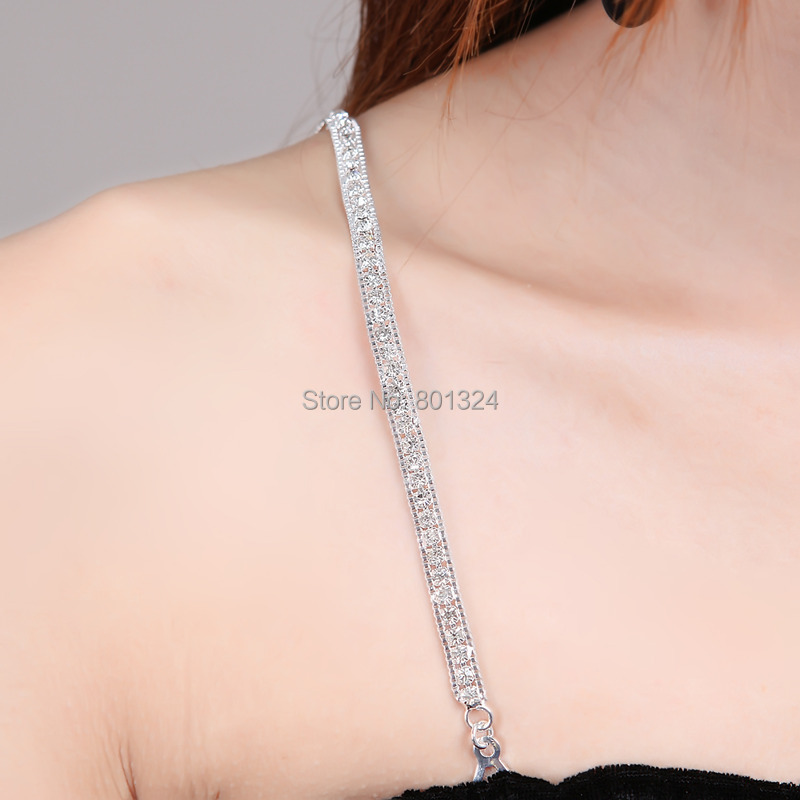 Closecret Womens Lingerie Accessories Removable Replacement Rhinestone Bra Straps Silver, 1 Pair