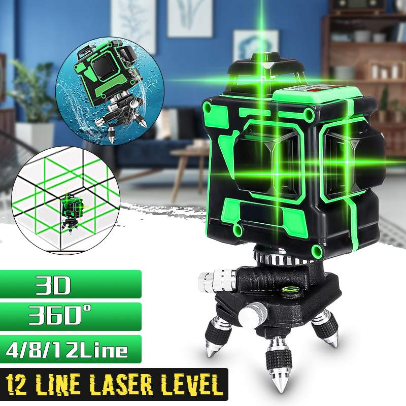 12 Lines 3D Green Laser Level Self-Leveling 360 Degre Horizontal And Vertical Cross Lines Green Laser Line With Tripod Battery12 Lines 3D Green Laser Level Self-Leveling 360 Degre Horizontal And Vertical Cross Lines Green Laser Line With Tripod Battery