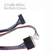 אוניברסלי 1ch 6bit 40 סיכות lvds כבל 300mm LP140WH1 מסך כבל 0.5mm פין המגרש עבור LCD DIY v56 3663