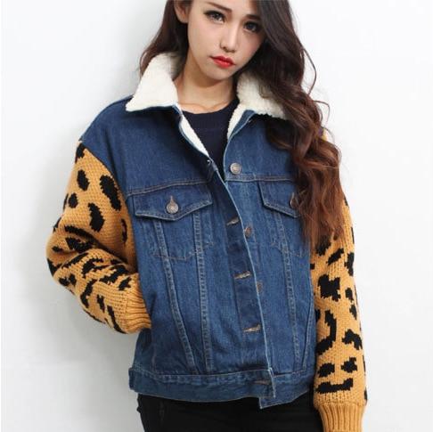 2014 New Korean style leopard thick lambs wool sleeve denim stitching women parka cotton women coat free shipping d9182