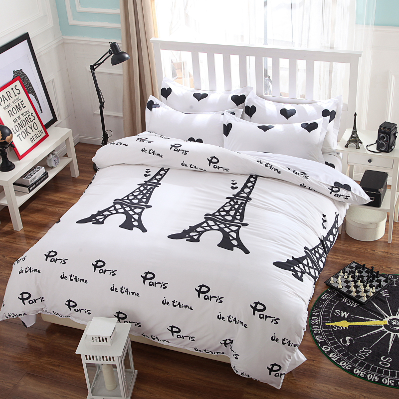t I love Paris style cover set quilt cover/ bed sheet/Pillowcase King Queen Full size