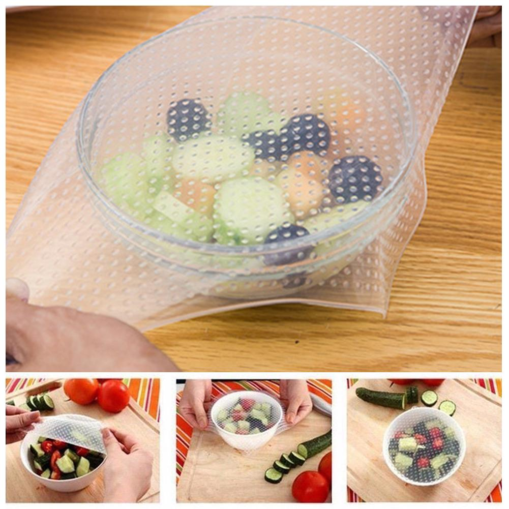 4 Pcs Reusable Silicone Food Bowl Covers Wrap,Keep Food Stretch and Fresh