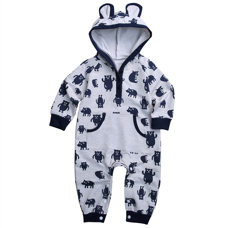 2017 Cute Baby Warm Cotton Rompers Autumn Winter Infant Bebes Long Sleeve Jumpsuit Baby Boys Girls Hooded Body Suit For Newborns