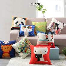 40*40cm Linen Cartoon Children Cushion Cover Car Sofa Bed Living room Bedroom Cushion Filling Home Fashion Animal Pillowcase(China)