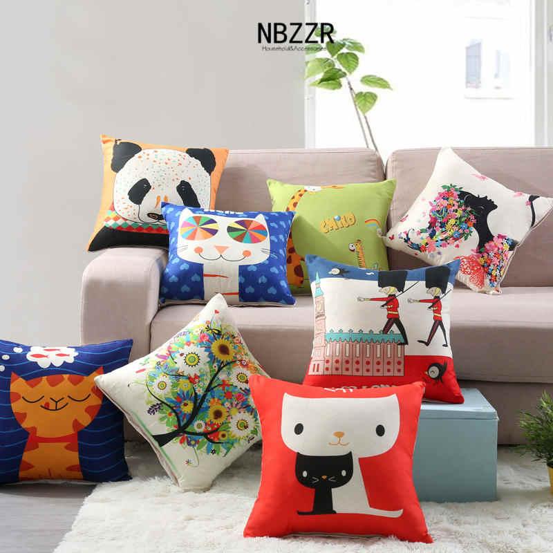 40*40cm Linen Cartoon Children Cushion Cover Car Sofa Bed Living room Bedroom Cushion Filling Home Fashion Animal Pillowcase