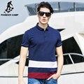Campamento de pioneros de Los Hombres 100% Algodón Camisa de Polo de Ropa de Marca Polo A Rayas de Contraste de Color Patchwork Homme Aptitud Camisa Polo 622060
