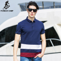 Pioneer Camp Men 100% Cotton Polo Shirt Contrast Color Patchwork Brand Clothing Striped Polo Homme Fitness Camisa Polo 622060
