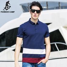 Pioneer Camp Roupas de Marca Dos Homens 100% Algodão Polo Camisa da Cor do Contraste Patchwork Listrado Polo Homme Camisa Polo de Fitness 622060(China (Mainland))