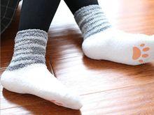Девушки Cat Стиль Теплый Пол Носки Японский Мультфильм Противоскользящие Зимние Номер Носки