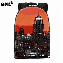 2016 ONE2 Дизайн высокого здания шаблон печати холст школа рюкзак открытый рюкзак оптовая для подростков девочек