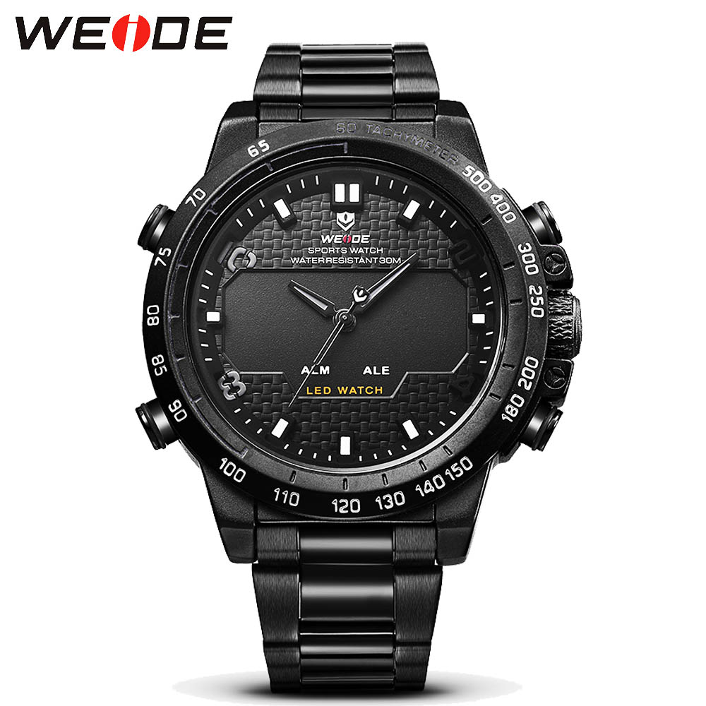 Top Luxury Brand WEIDE Men Full Steel Watches Men's Quartz Analog Digital LED Clock Man Fashion Sports Army Military Wrist Watch 2018 new luxury brand weide men watches men s quartz hour clock analog digital led watch pu strap fashion man sports wrist watch