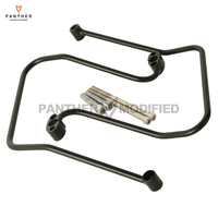 Black Motorcycle Saddlebag Support Brackets Case for Harley Dyna FXD FXDB FXDC FXDL 2006 2013