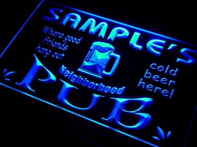 Pg-tm nombre personalizado barrio Pub Bar cerveza llevó la luz de neón señales con interruptor de 7 colores 4 tamaños