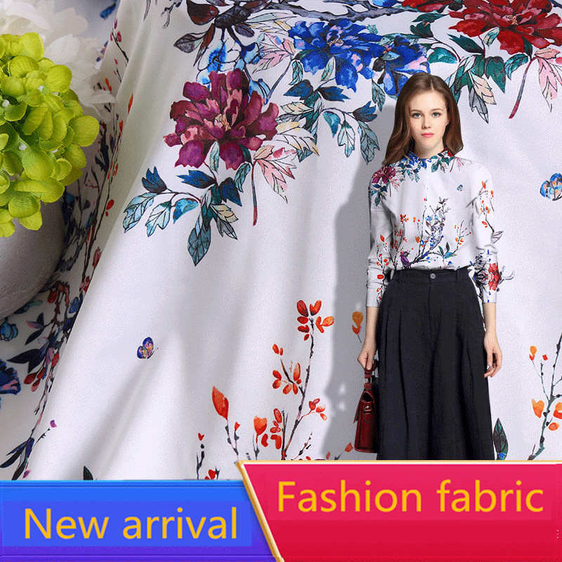RUBIHOME New Arrival Wholesale 5 meter lots Summer Silk Soft Fabric Print Flower for Making Women Dress Width 160cm Hot Sell in Fabric from Home Garden