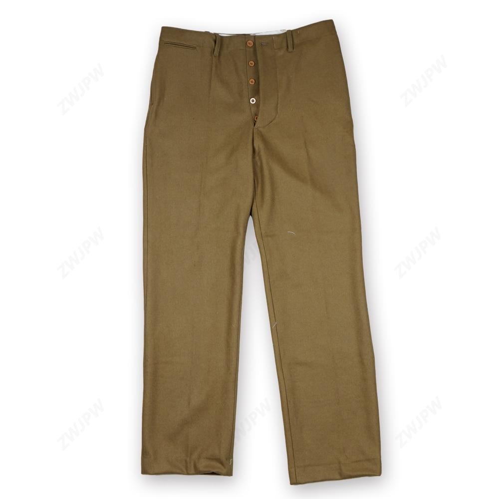 WW2 US KMT MEN UNIFORM AMERICAN STYLE BROWN SOLIDER PANTS M37 WOOLEN TROUSER D DAY RE