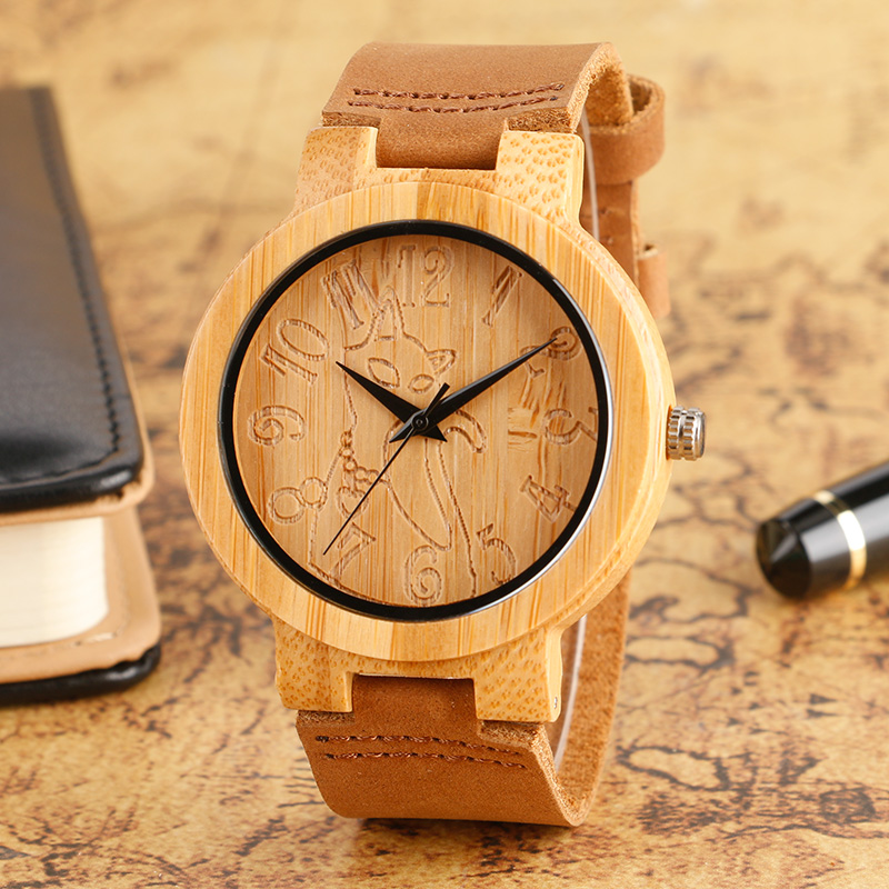 Men Watches Creative Engraved Cat Wooden Face Minimalism Analog Bamboo Quartz Wrist Watch Brown Genuine Leather Clock 2018 Gifts