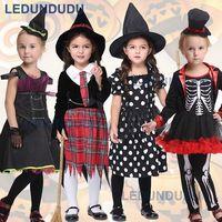 Zwarte Heks Cosplay Kostuum voor Kids Kinderen Skelet Cos Kleding Halloween Fancy Party Pak Meisjes Jurk met Hoed