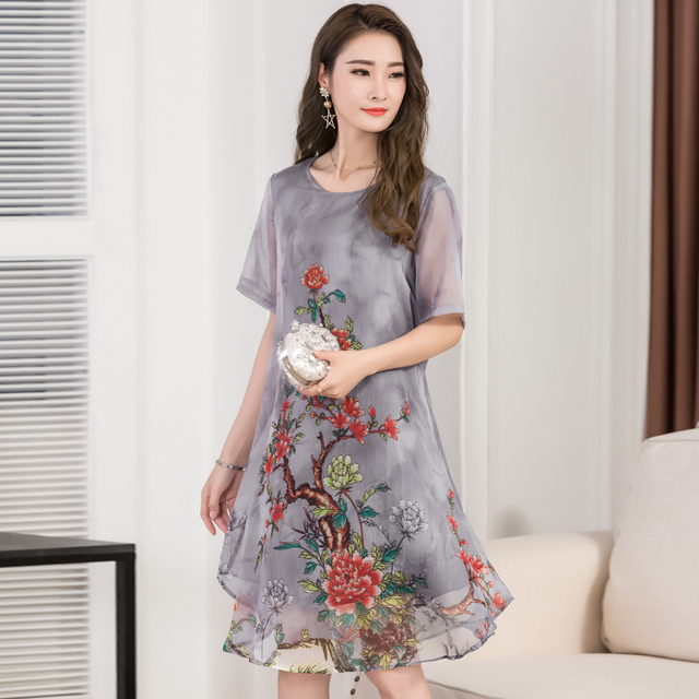 2018 Women Summer dress Floral Print Chiffon Dress Casual O-neck Short Sleeve Dresses Long plus size Vestidos