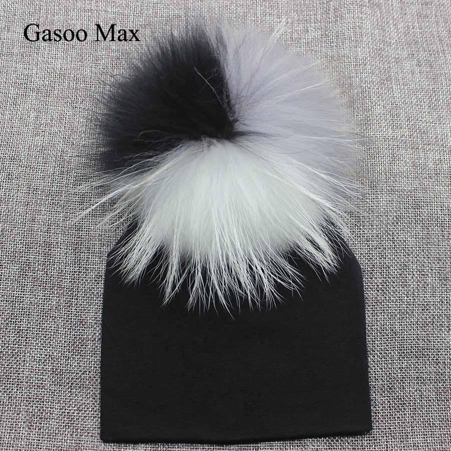 Brand Newborn Kids Baby Boys Girls Warm Cotton Beanie Real Fur Pom Pom Bobble Hat Cap Winter Warm Photography Hat