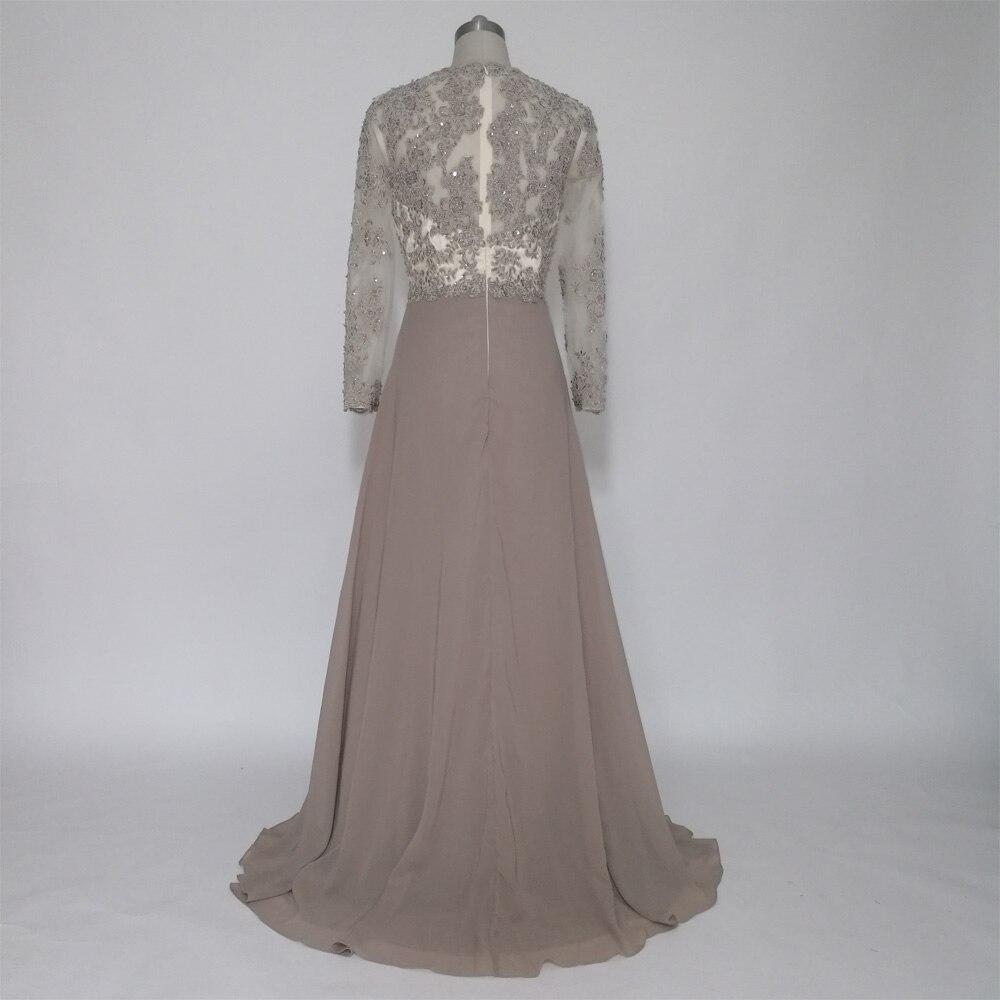 e jue shung grau spitze appliques perlen lange abendkleider seiten-schlitz  lange Ärmel mutter der braut kleider abend kleid