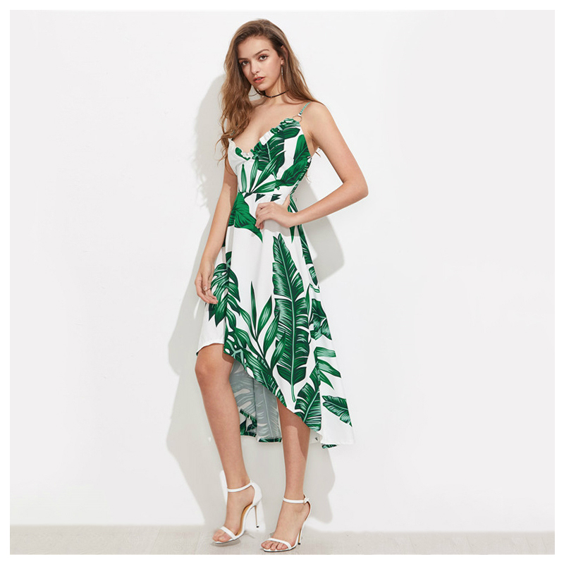 29e14b8db71 Women Green Palm Leaf Banana Leaf Print Summer Beach Dress Green V-Neck  Ruffle Trim Women Elegant Dresses Dip Hem Irregular New